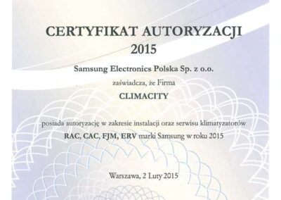 Autoryzacja instalacji oraz serwisu klimatyzatorów Samsung