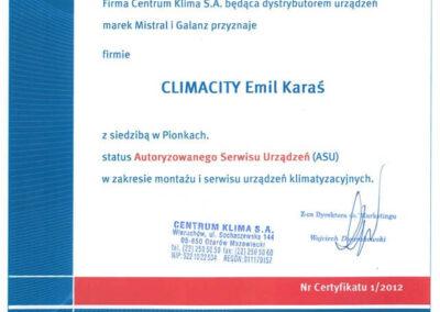 Certyfikat – Autoryzowany Serwis Urządzeń klimatyzacyjnych Mistral i Galanz