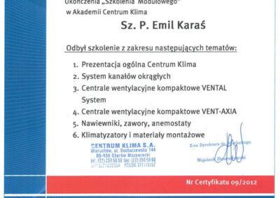 Certyfikat ukończenia Szkolenia Modułowego w Akademii Centrum Klima