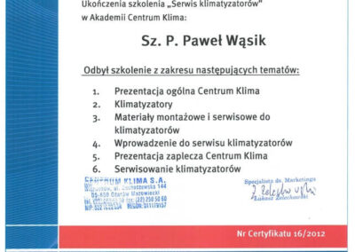Certyfikat ukończenia Szkolenia Serwis klimatyzatorów w Akademii Centrum Klima