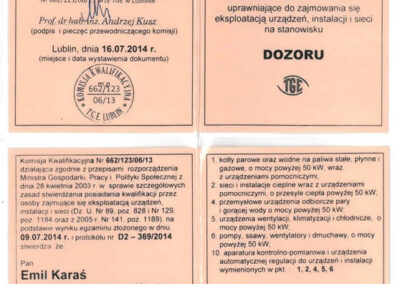 Świadectwo kwalifikacyjne – dozór Emil Karaś 2019