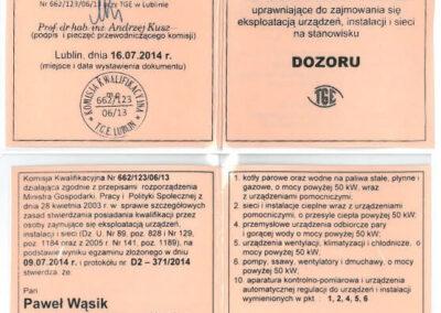 Świadectwo kwalifikacyjne – dozór Paweł Wąsik 2019