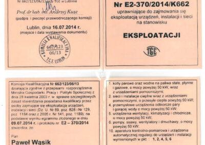 Świadectwo kwalifikacyjne – eksploatacja Paweł Wąsik 2019